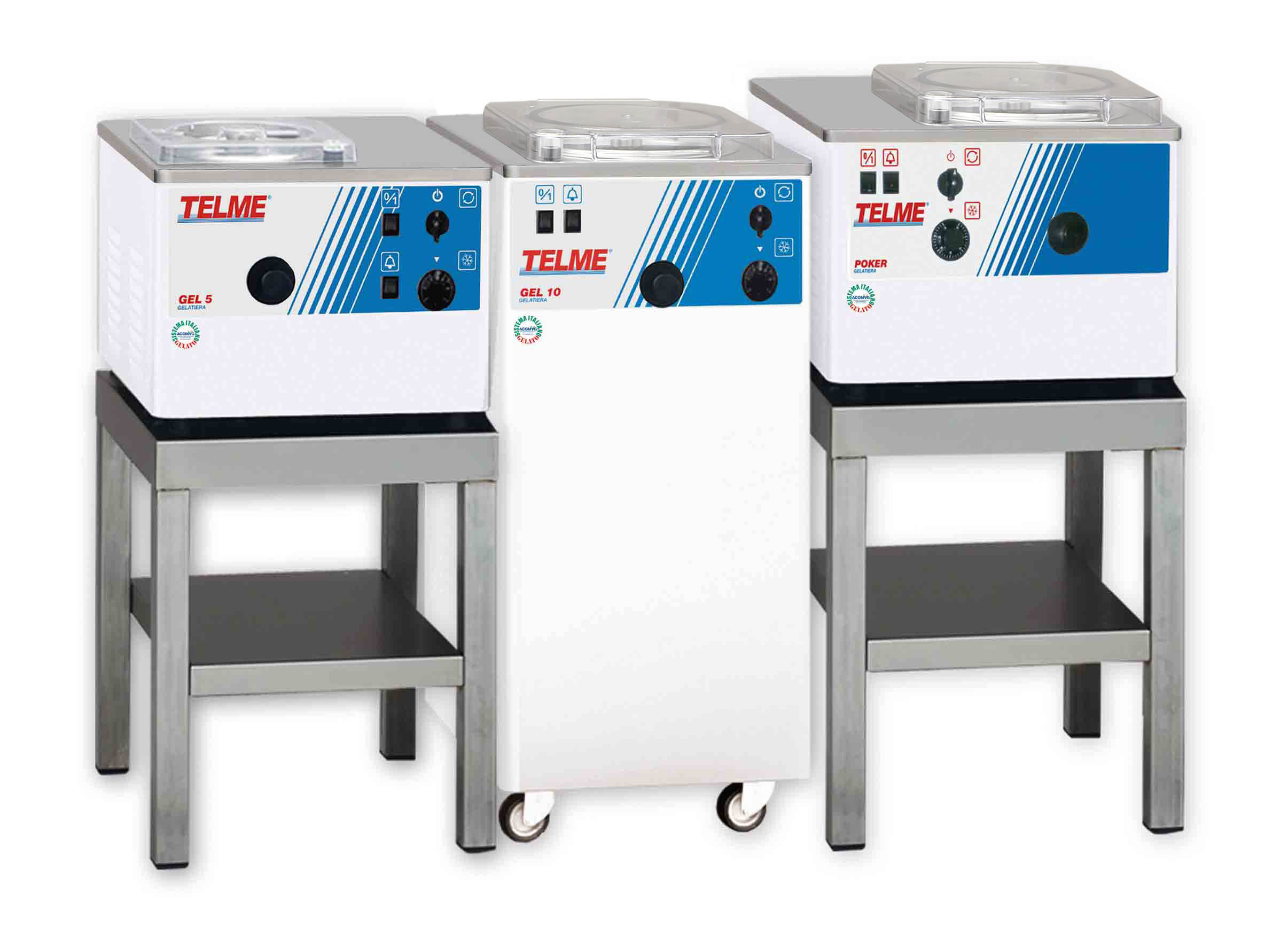 Gel 5, 10, - Poker   These combined ice cream and gelato machines with the two vertical cylinders allow one flavour to be mixed and heated at the same time as another one is mixed and frozen. They also prepare specific recipes for single flavours. Versatile and fast for any gelato requiring hot/cold thermal treatment.