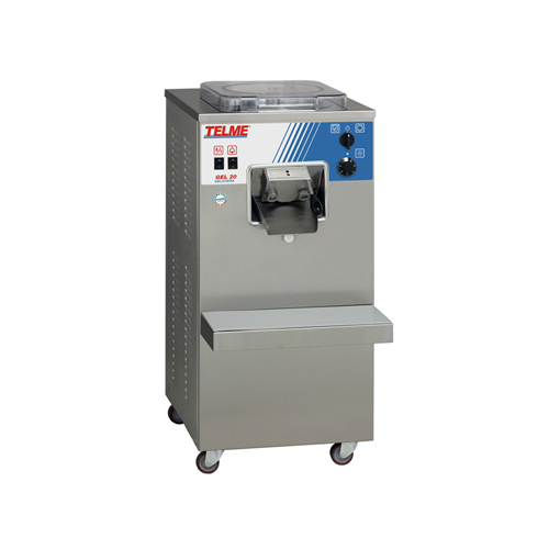 Gel 20   Vertical professional gelato maker machines with automatic extraction, for making gelato, sorbet and granita with the correct consistency. Three-phase power supply for heavy duty use. Each cycle produces a 5-litre tub of finished gelato which can be served immediately.