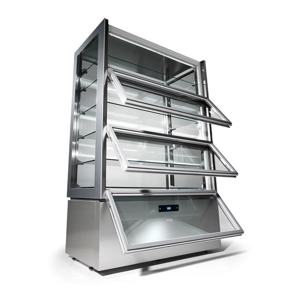 KP12Q   UPRIGHT REFR.DISPLAY UNIT+2/+10°C,LOWER ANTI-FING.  Temperature ranges, °C+2/+10  Dimensions (LxDxH), cm 120 x 66 x 188