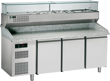 KBPZ203S   COMPLETE REFRIG.PIZZA COUNTER W/DISPLAY,NO DRAWERS  Dimensions (LxDxH), cm 207 x 75 x 147
