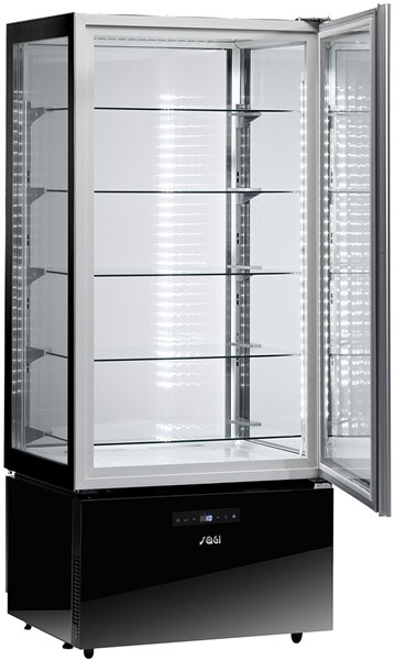 KP8QA   UPRIGHT REF.DISPLAY UNIT+2/+10°C,BLACK POLISH.ST.  Temperature ranges, °C+2/+10  Dimensions (LxDxH), cm 80,5 x 64,5 x 184