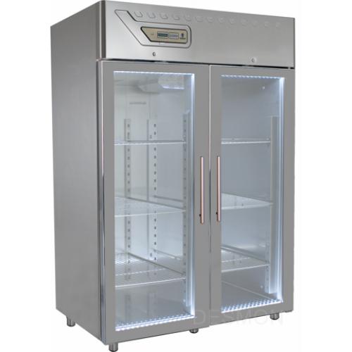 GM14G   PROFESSIONAL REFRIGERATOR 1400 Lt -2° +8°C GLASS DOOR - EMBOSSED GUIDES Dimensions: L: 134cm x P(W): 80cm x H: 212cm
