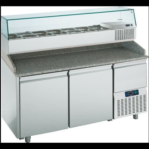 PTR160CN3N   PREPARATION TABLE 2 DOORS -2° +8°C GLASS BACKSPLASH  Dimensions: L: 160cm x P(W): 80cm x H: 145cm