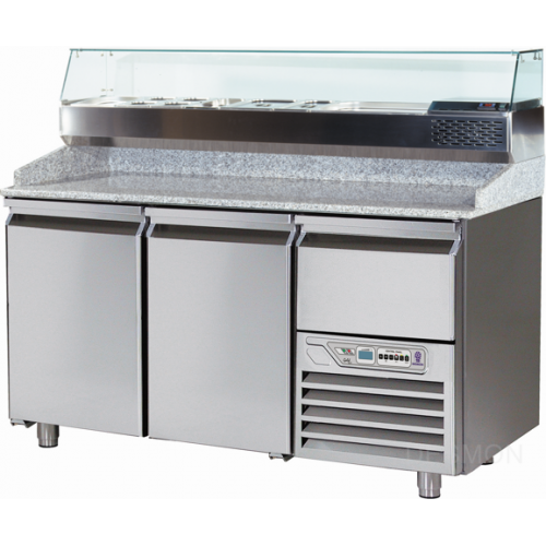 GPZ166A   FOOD PREPARATION TABLE 2 DOORS 8 DRAWERS -2° +8°C GLASS BACKSPLASH  Dimensions: L: 166cm x P(W): 80cm x H: 147cm