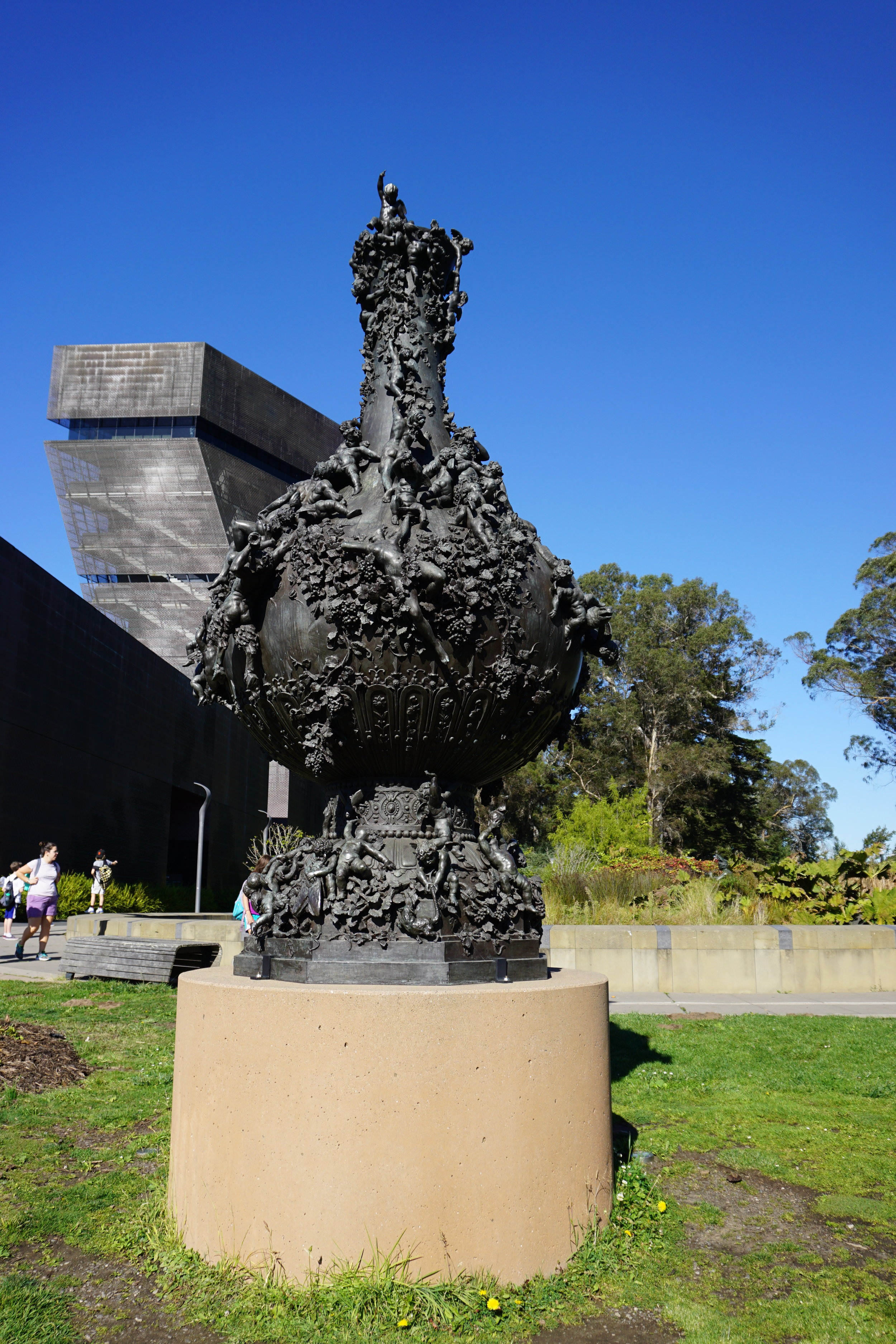 Statue Honoring Bacchus in front of the De Young Museum.