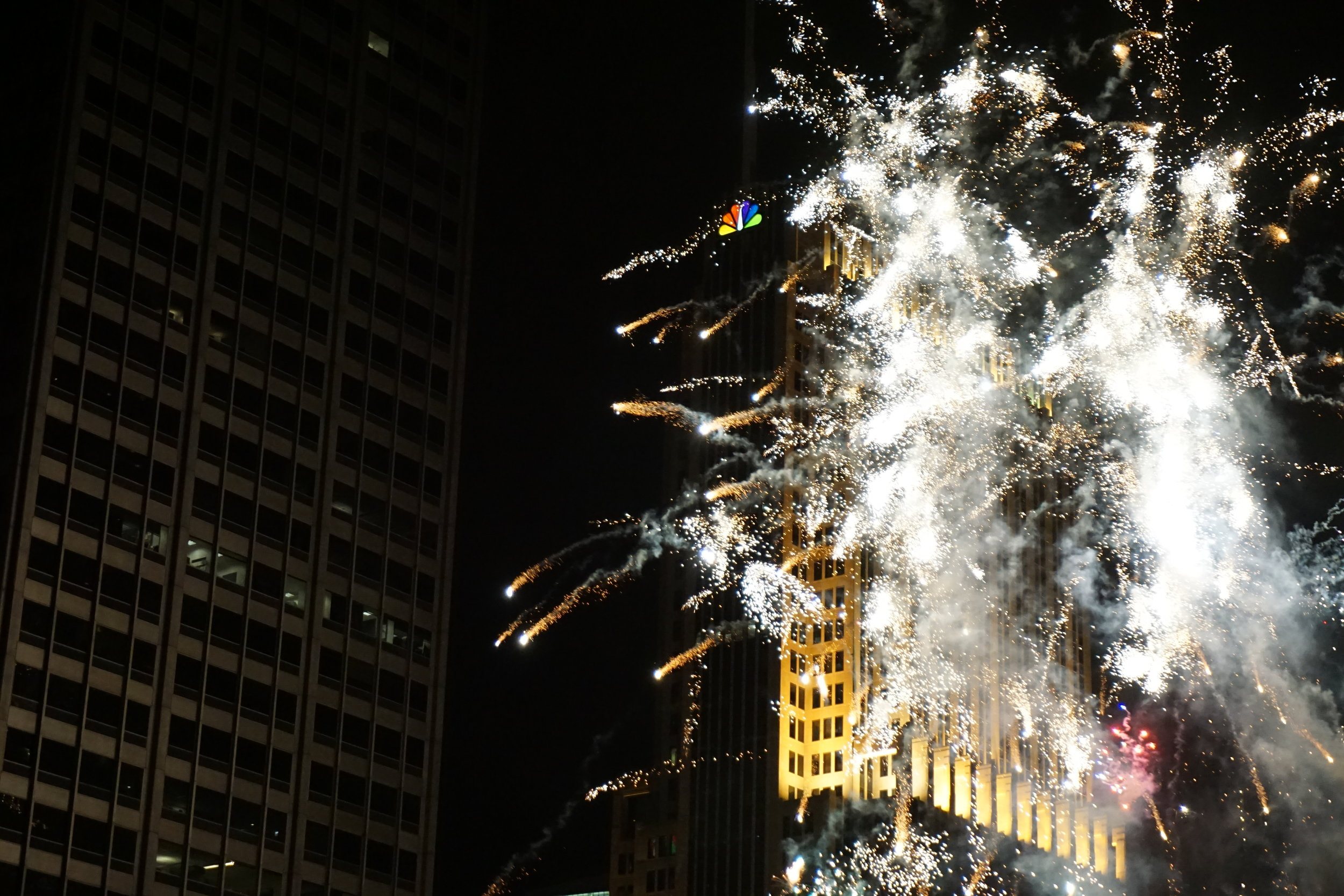 Fireworks after the Chicago Light Parade.