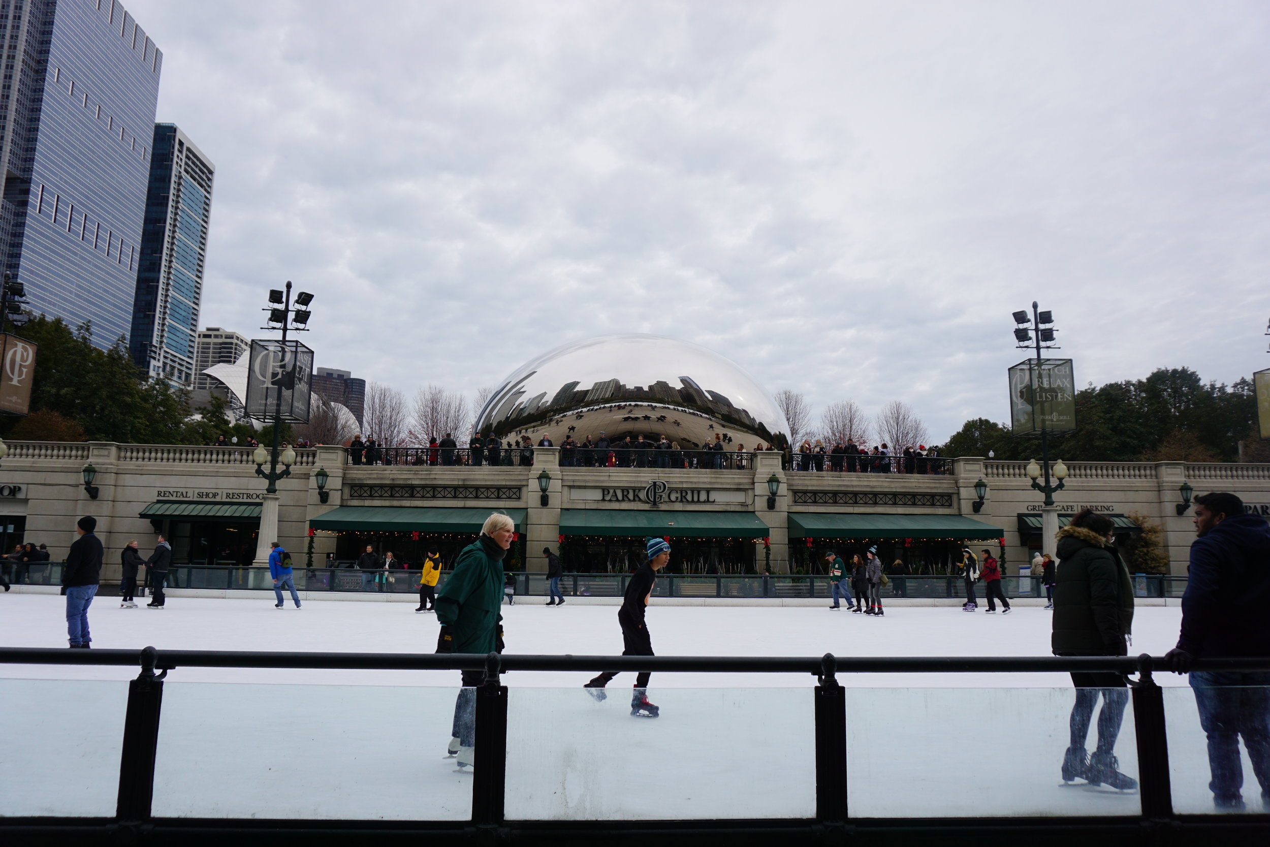 Ice Skating and the Cloud Gate in Millinnium Park