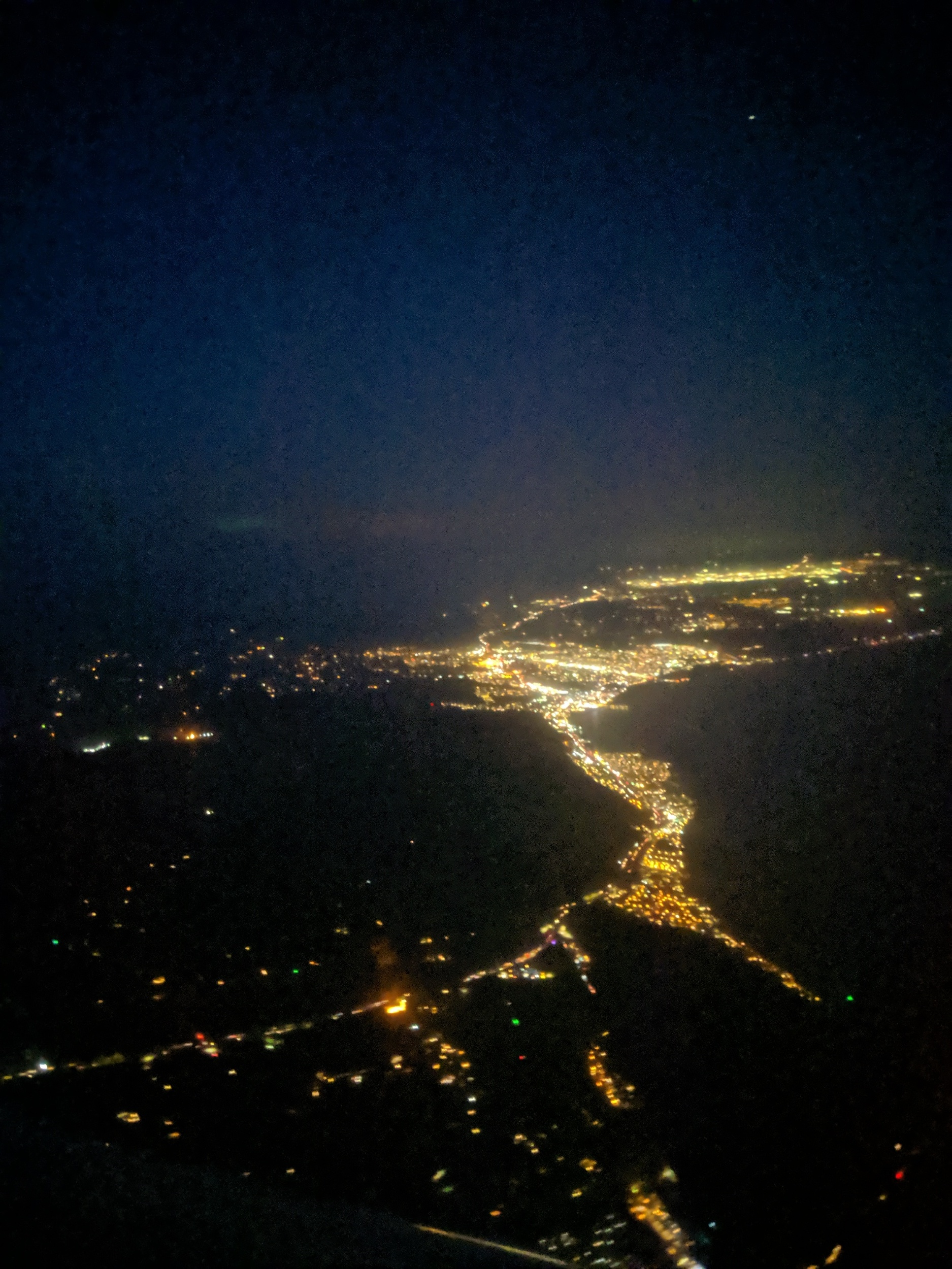 An ariel photo of the central coast at night.