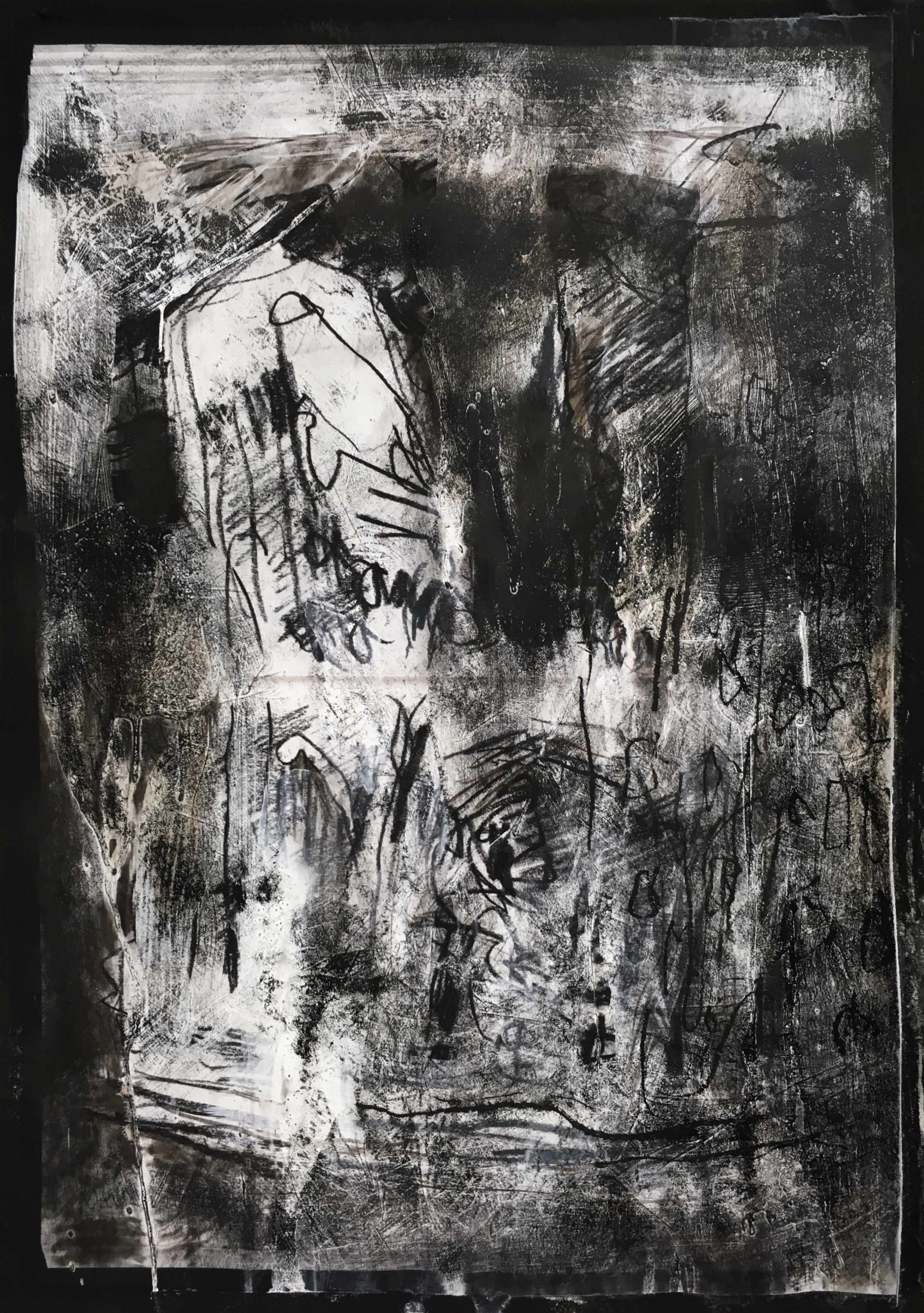 Near Büschingstraße, Arthur Laidlaw, Laser toner, acrylic primer, etching ink, charcoal, and pencil on paper, 2018