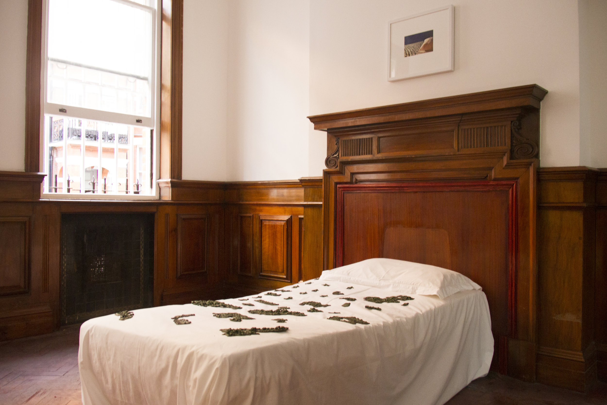 Over My Bed, Fadi Al-Hamwi, Toy soldiers and bed installation, 2018