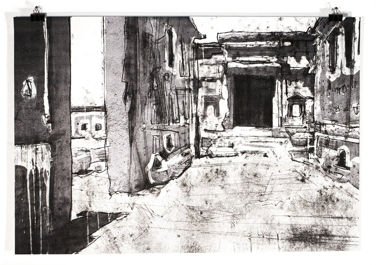 Palmyra (Bel Cella) , Arthur Laidlaw, 84 x 59 cm, Laser toner, acrylic primer, and etching ink on planning paper, 2016