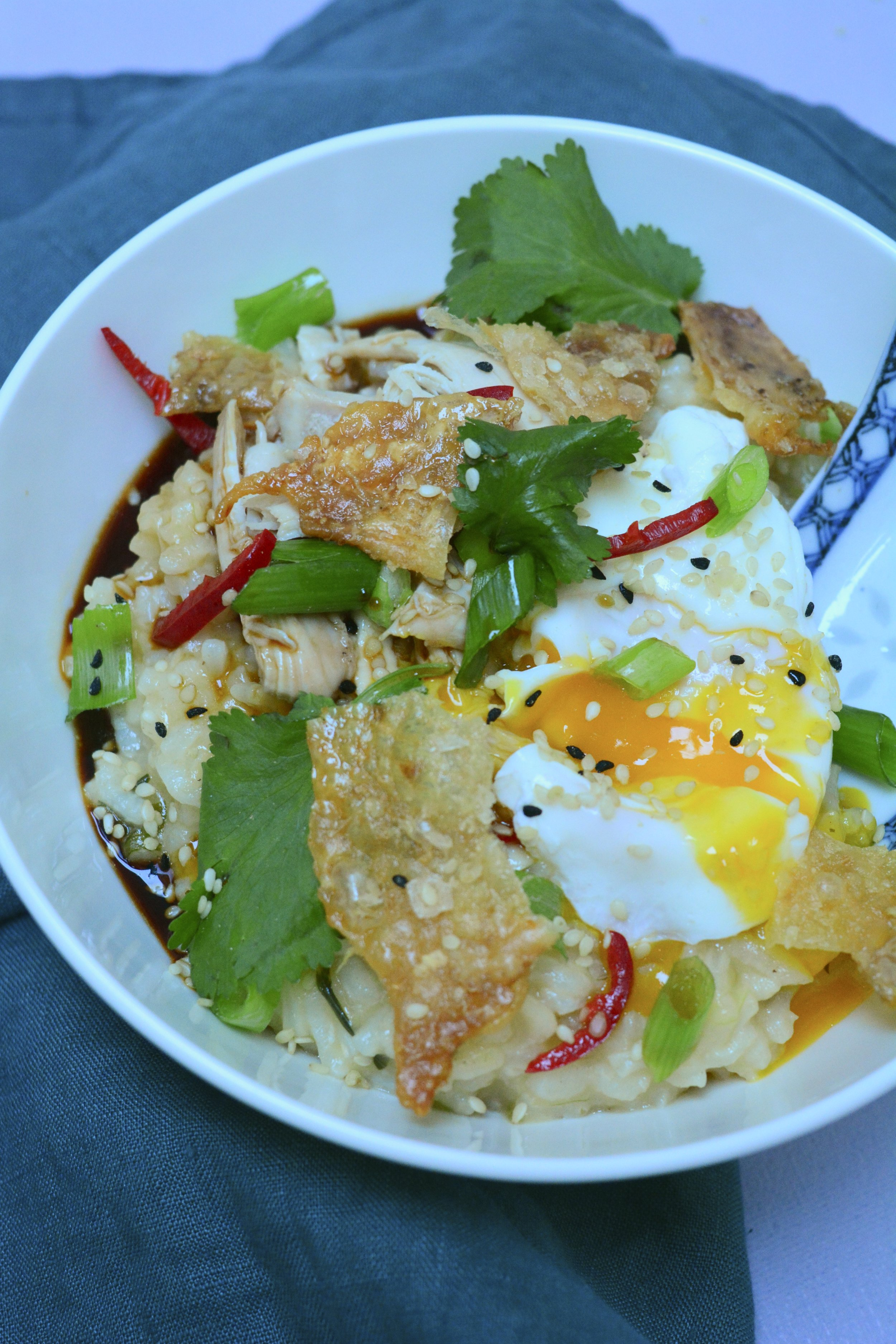 chicken congee recipe with poached egg - Desert Island Dishes