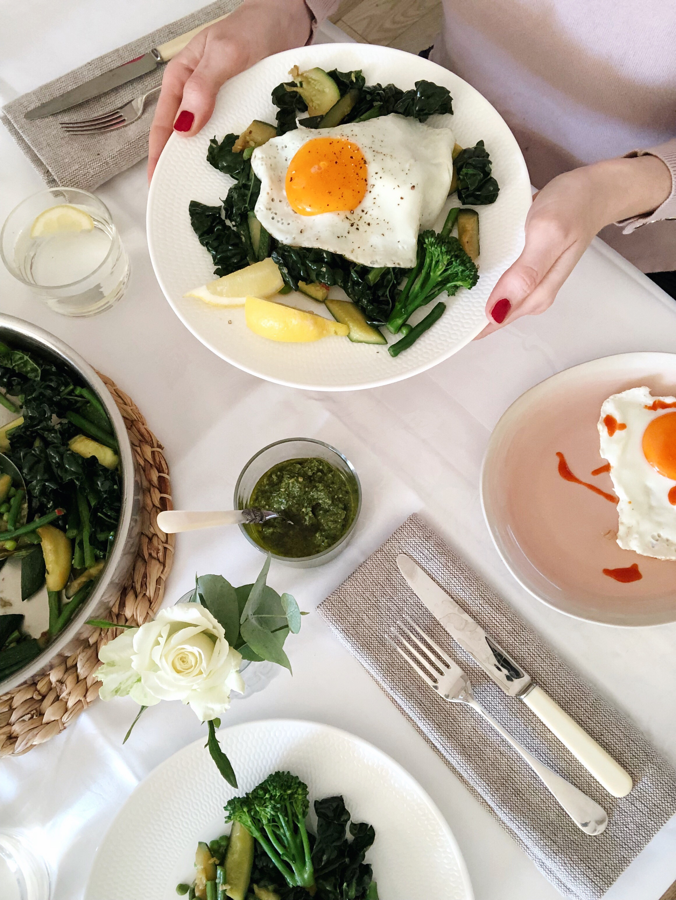 sauteéd greens with fried eggs inspired by Prue Leith - Desert Island Dishes - Margie Nomura