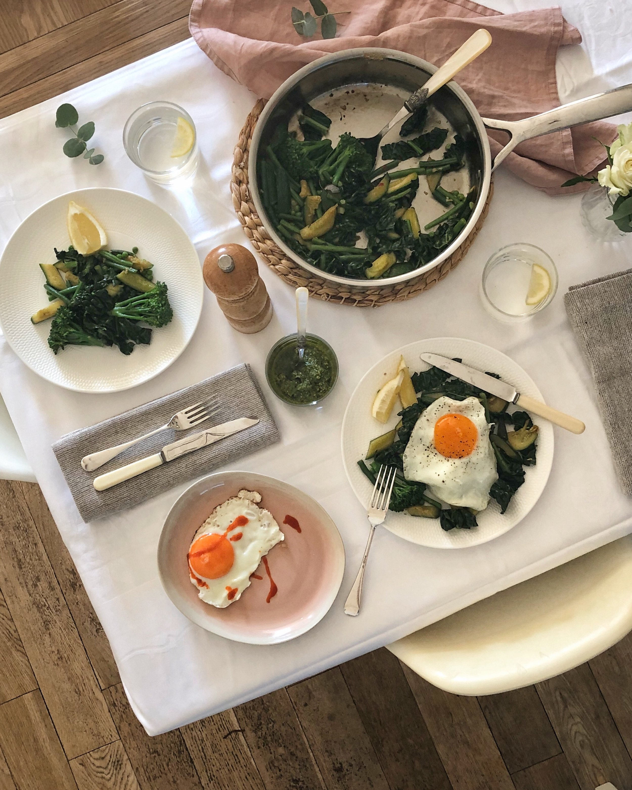 one pan greens with fried egg - Prue Leith - Desert Island Dishes - Margie Nomura - easy supper