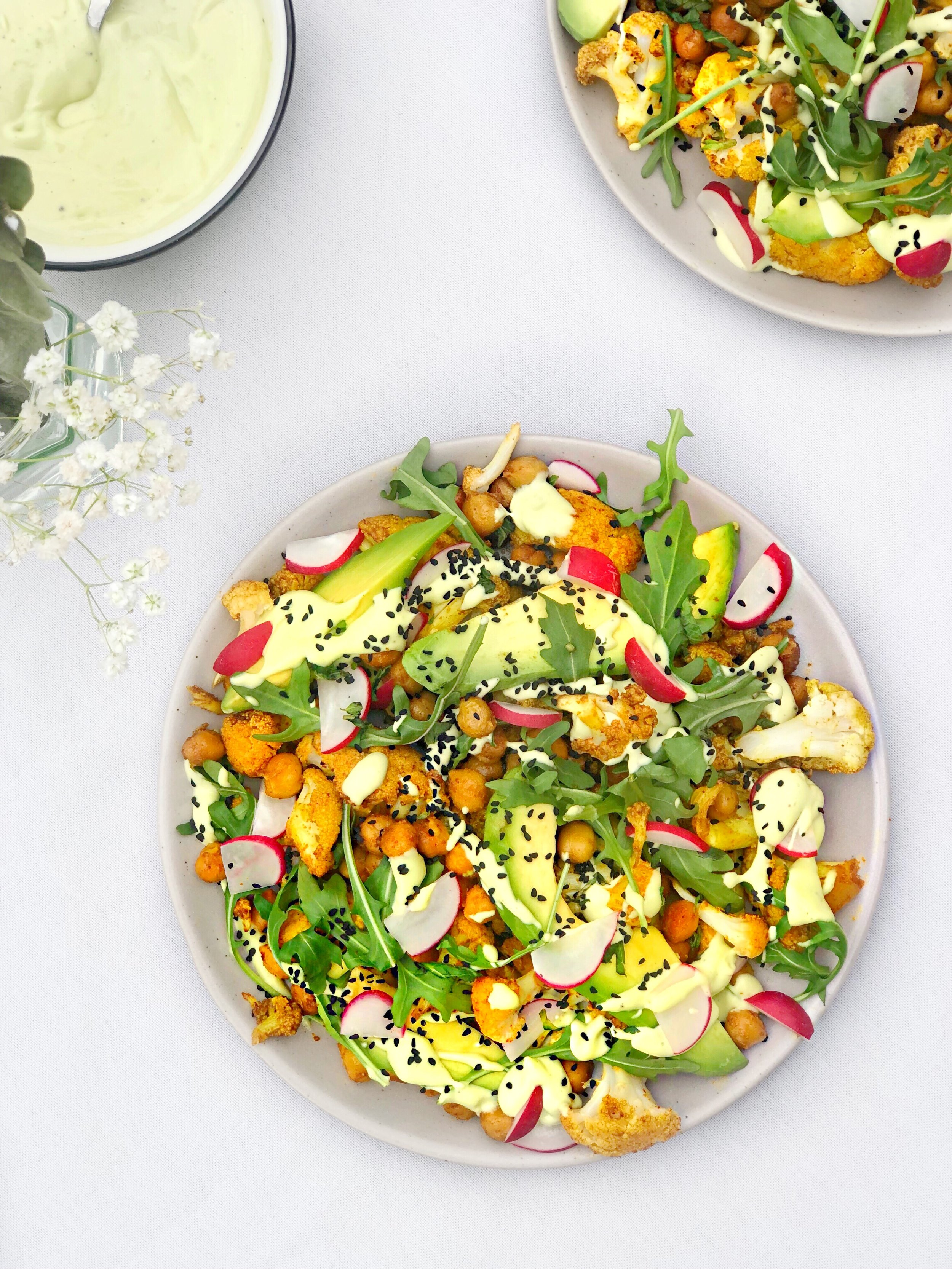 Roasted cauliflower and chickpea salad with avocado dressing