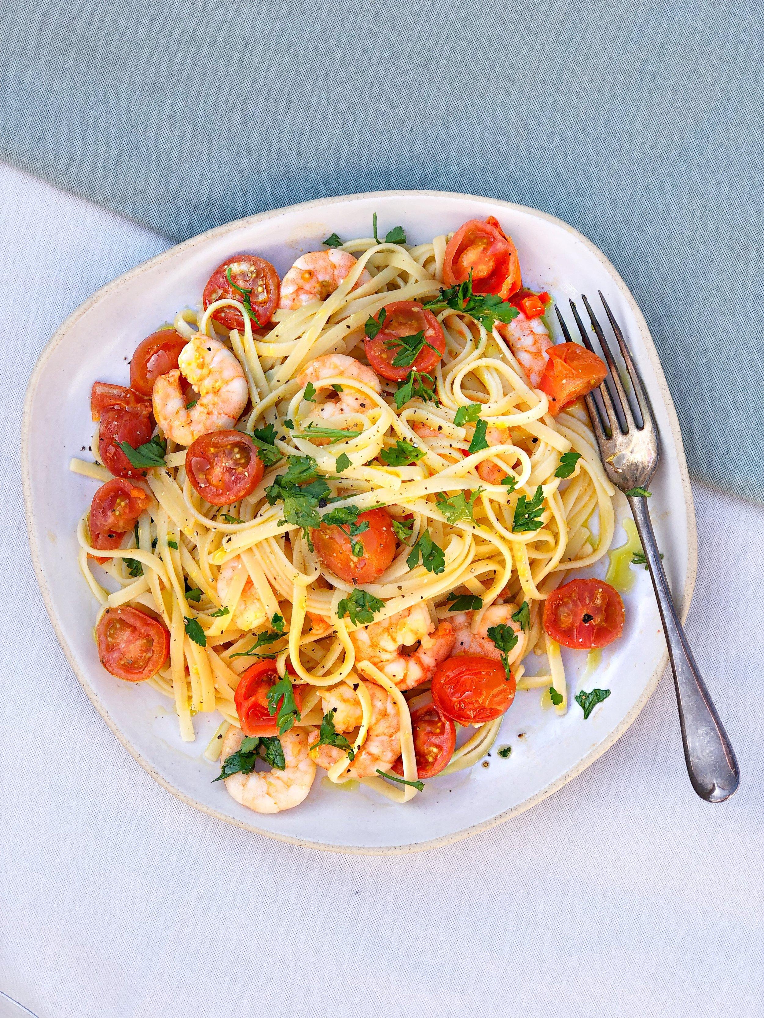 Prawn and tomato linguine - Desert Island dishes