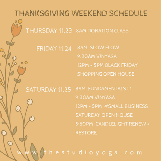 The Studio Yoga Thanksgiving Day Holiday Hours