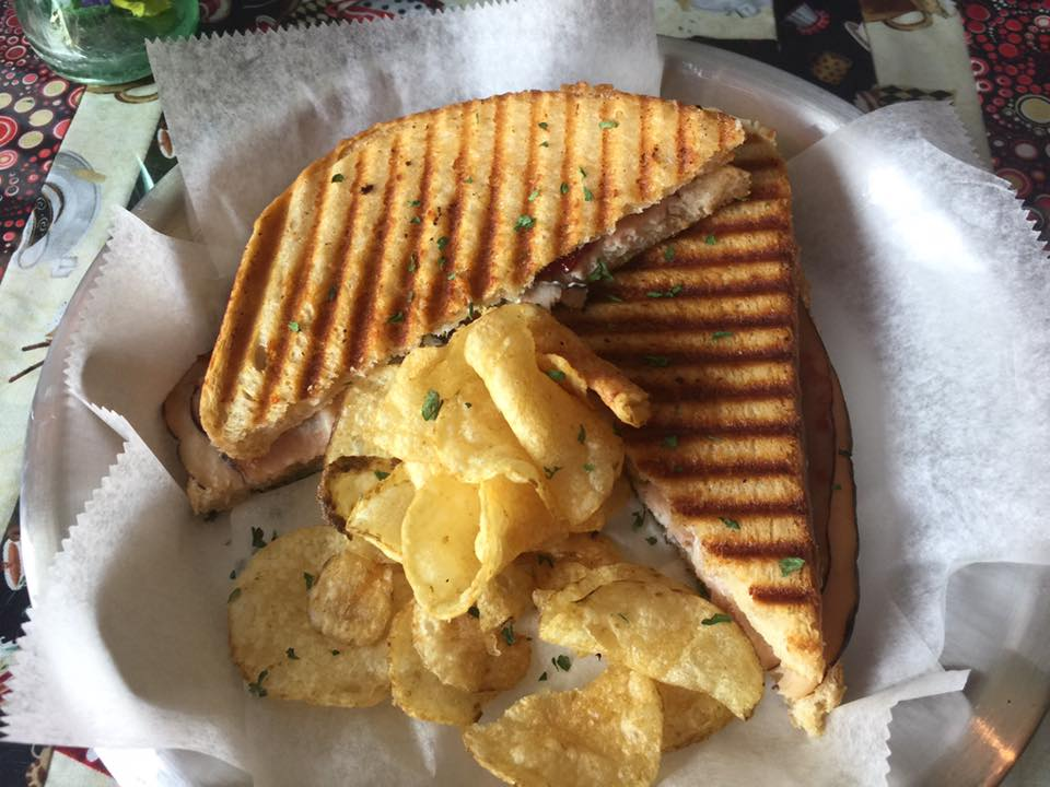 """M & A"" pannini - if you've got to ask, you wouldn't understand... with asiago, cheddar, and a side of chips."