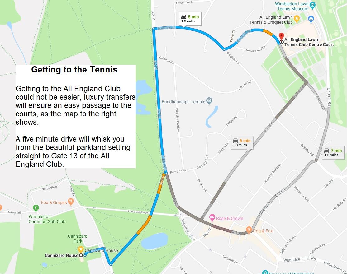 Map Wimbledon tennis cannizaro house london