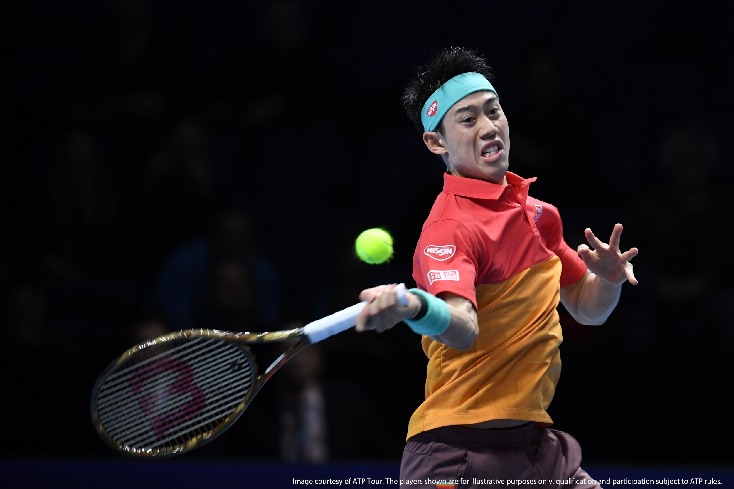 LONDON, U.K. - November 13: Images of match winner Kevin Anderson of South Africa and Kei Nishikori of Japan at the Next Gen ATP Finals at The O2 arena on November 13, 2018 in London, United Kingdom (Photo by Peter Staples/ATP World Tour)