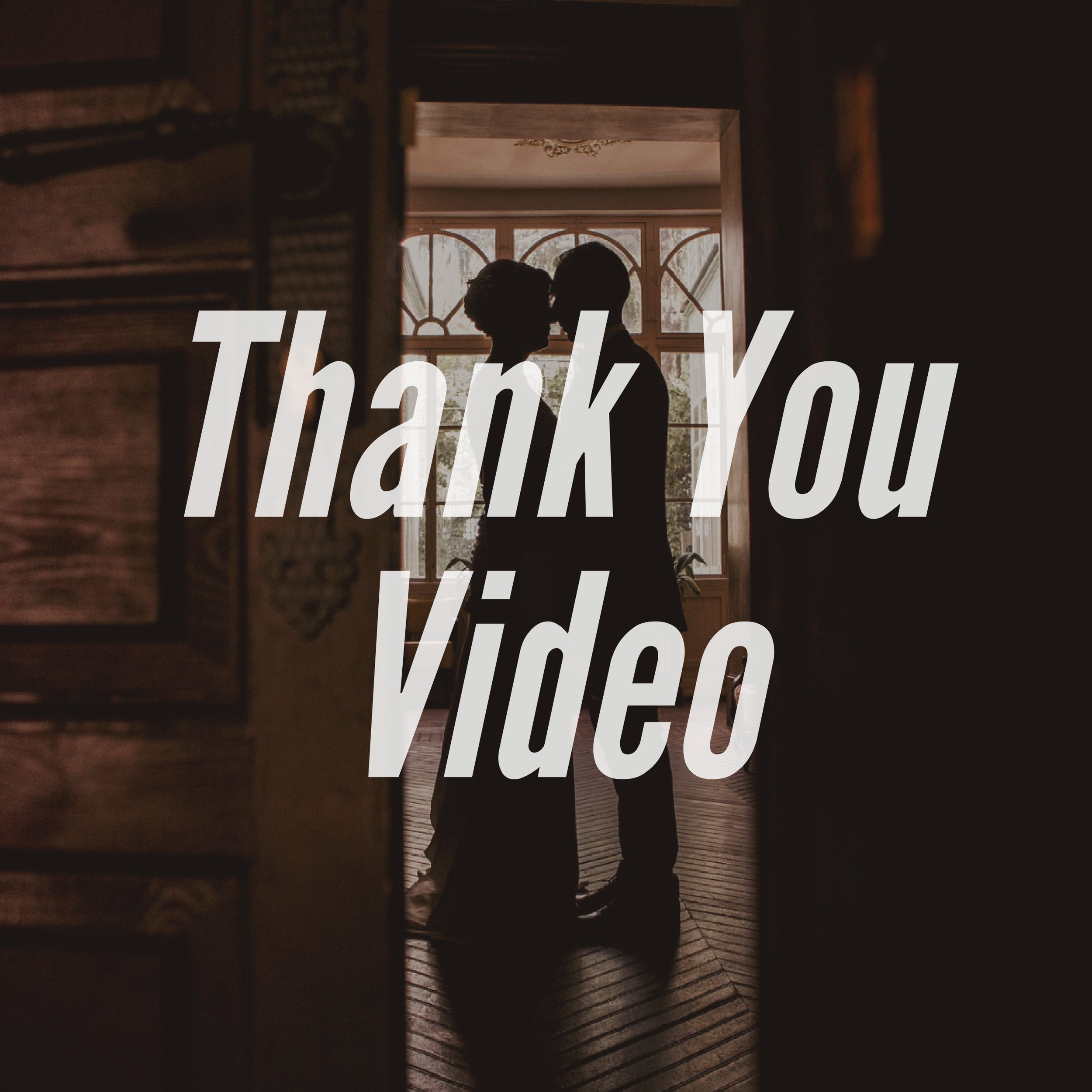 Add a beautiful thank you video that acts as a replacement or enhancement of your traditional efforts to thank your guests. This video can be put on flash drives to mail to your guests and will be posted online so you can share a link to your guests through email or social media.