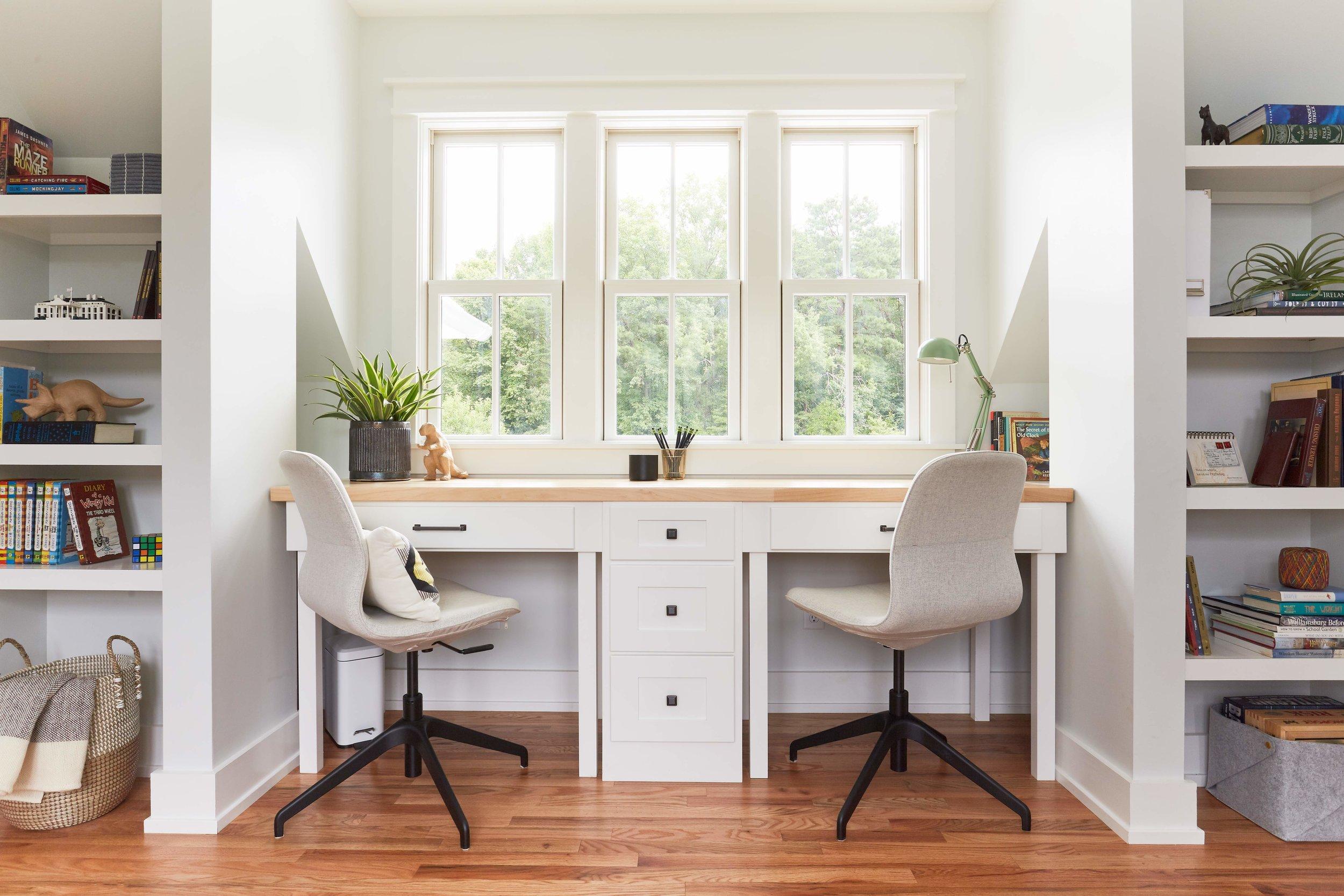 New dormer and custom built-in desk in kids' study.
