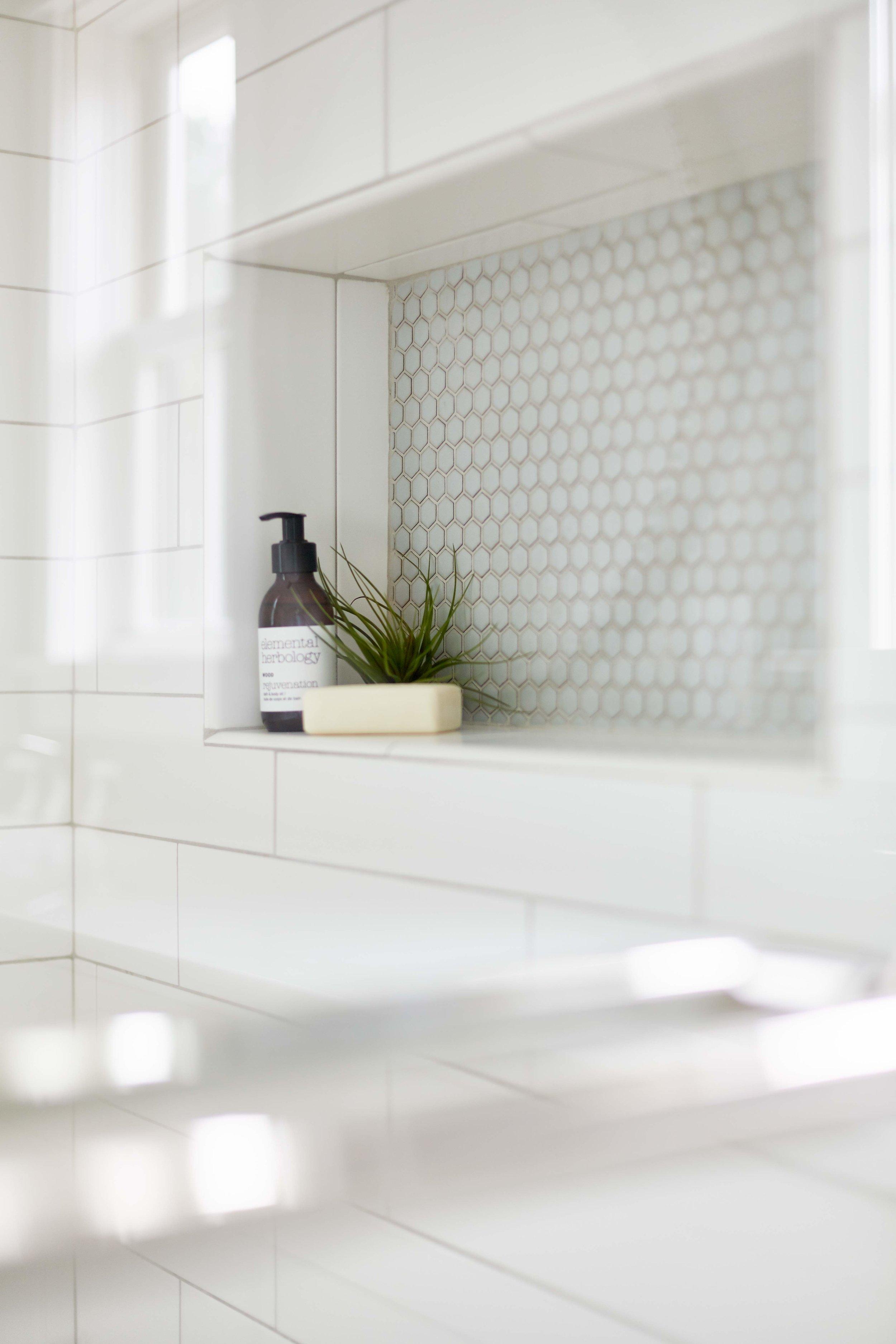 Shower niche detail.