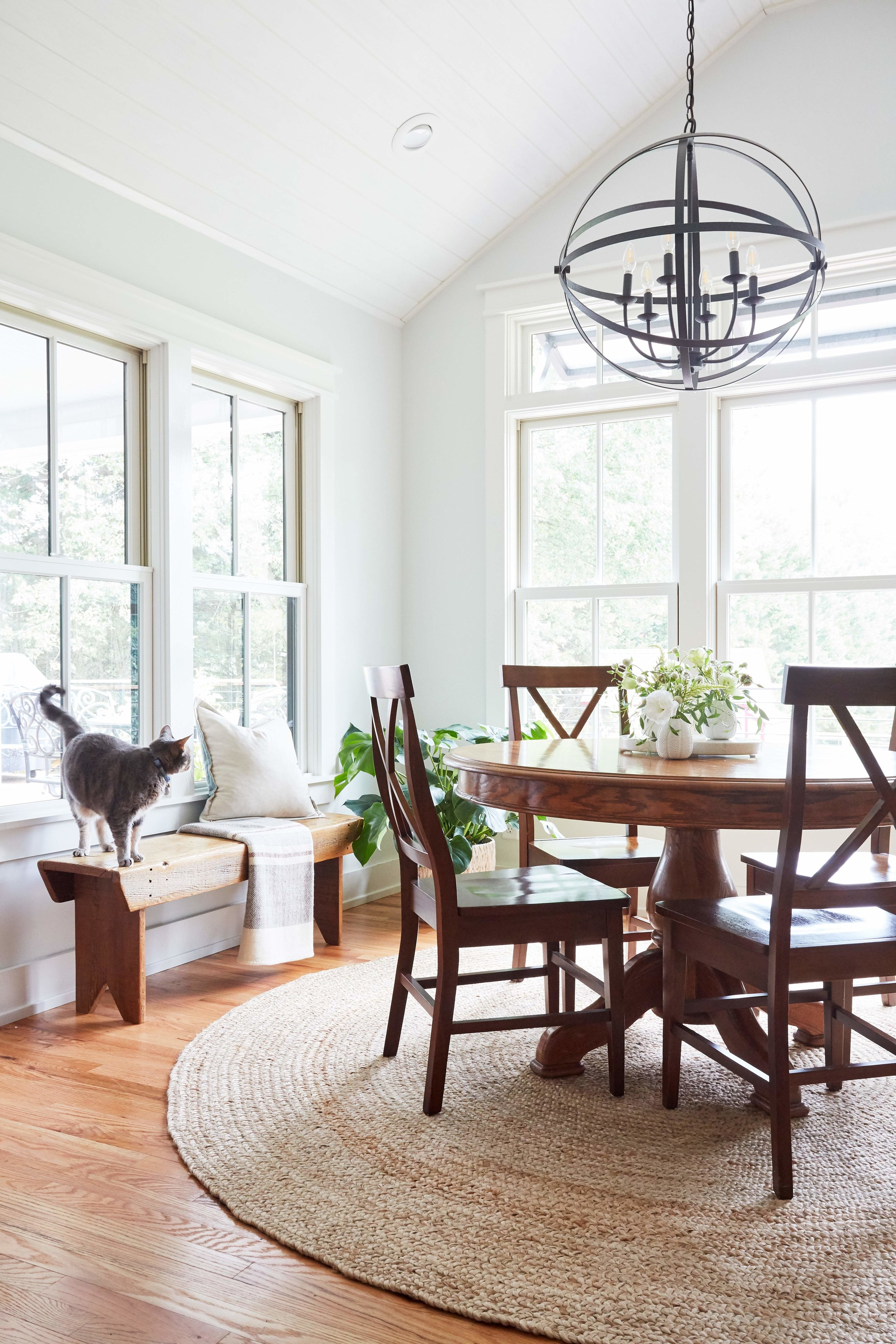 Dining room with redesigned windows and new shiplap ceiling.