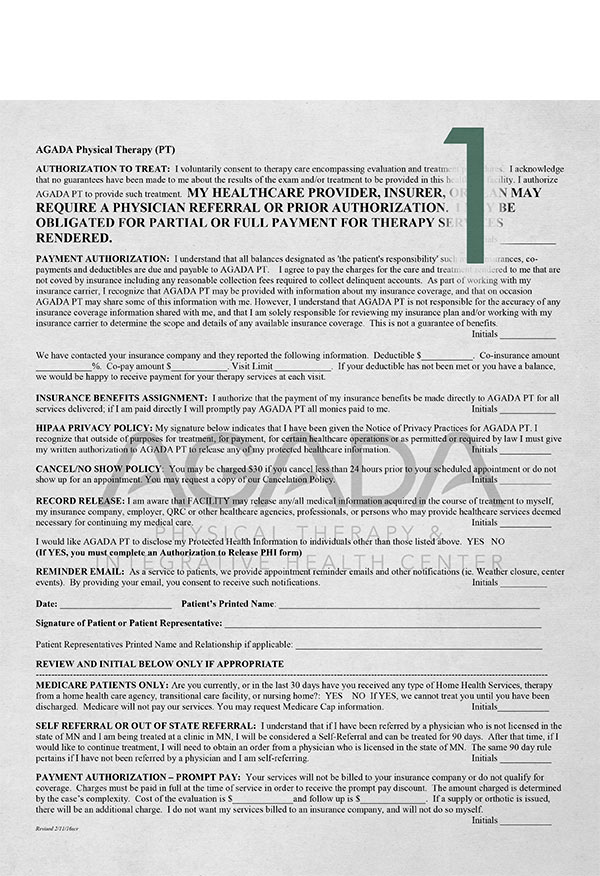 Authorizationto Treat  - This form covers payment, insurance benefits assignment, and privacy policy authorizations as well as AGADA's appointment cancel/no show policy.