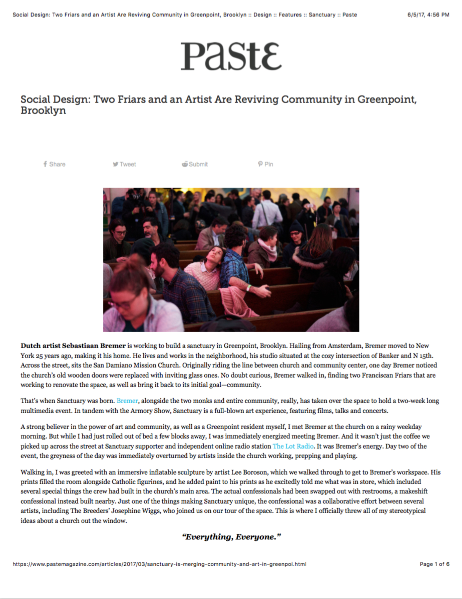 Sebastiaan Bremer: Sanctuary in Paste - Social Design: Two Monks and an Artist are Reviving Community in Greenpoint, Brooklyn7March 2017