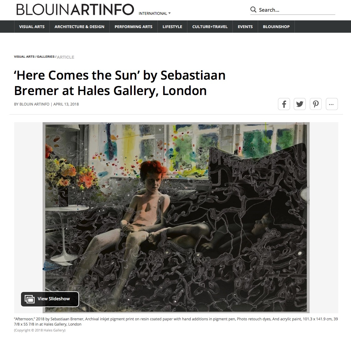 Sebastiaan Bremer in Blouin ArtInfo -