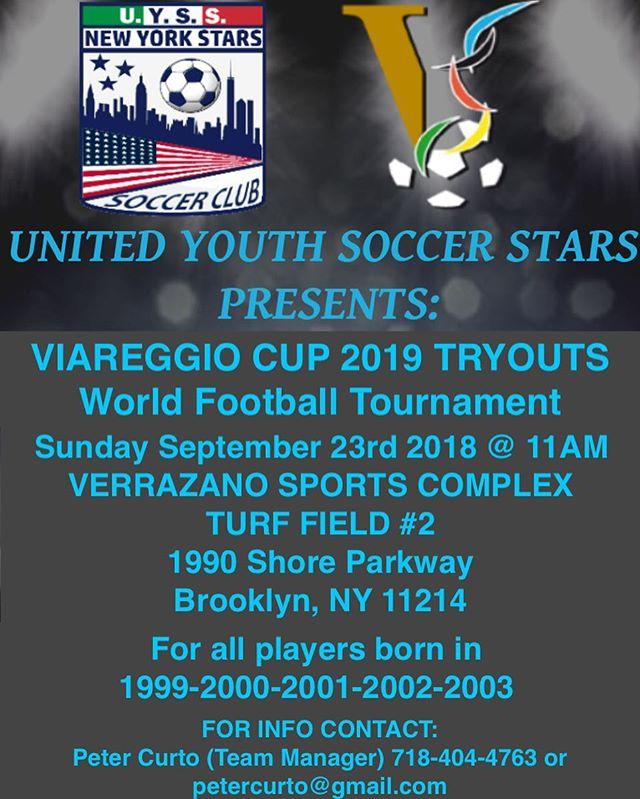 Viareggio Tryouts are back. All U-19 players are invited. Uyssny.com