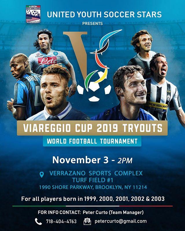 Viareggio Try-outs continue this Saturday November 3rd at 2pm. Verrazano Sports Complex!!