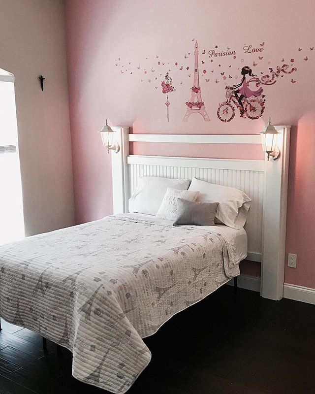 We loved making this custom headboard for a precious 9 year old girl. It came complete with sweet little lanterns that could be used as a nightlight! 💗 . . . Custom furniture available. Just email us with your needs at amcglennon@houseandherald.com