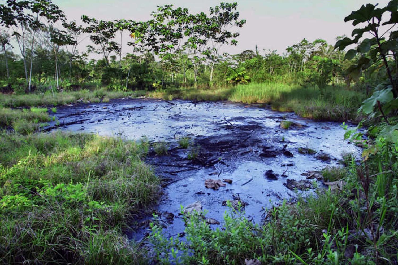 Ölkonzerne hinterließen viele Millionen Liter Rohöl-Abfälle im Amazonas und vergifteten das Wasser, dass die Bevölkerung zum Trinken, Baden und Fischen benötigt. Photo Credit: Lou Dematteis