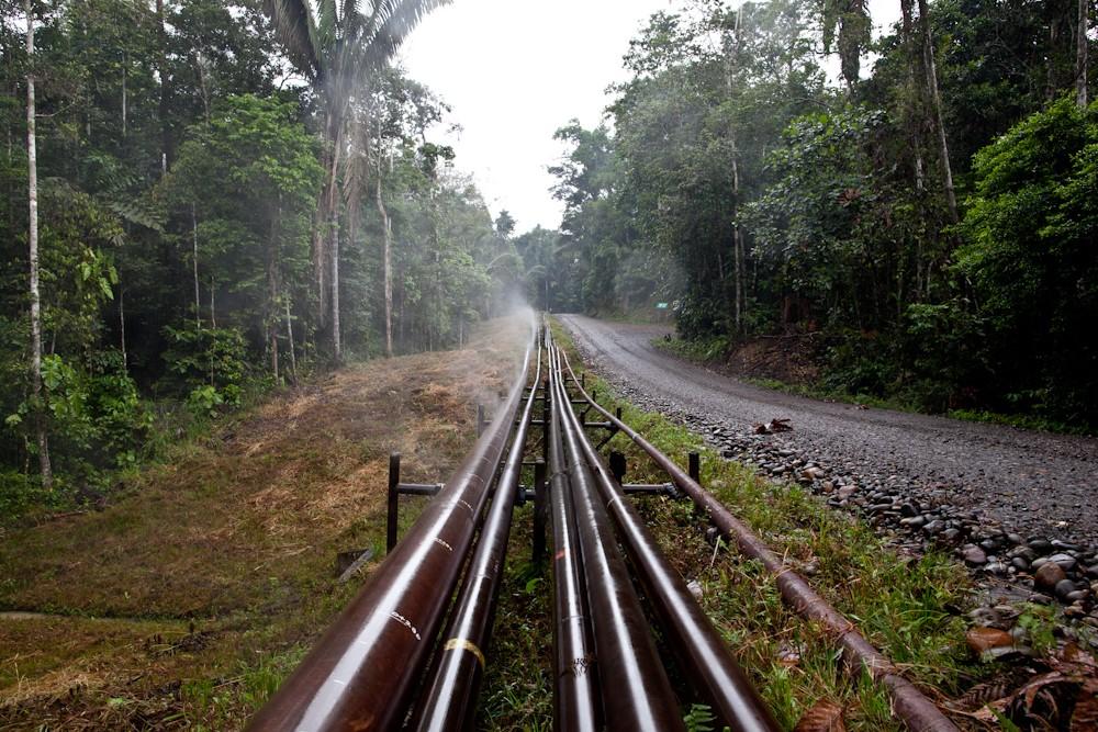 Ölstraße an deren Seite die Ölpipelines laufen, die den Rohstoff aus dem Amazonas zu transportieren.