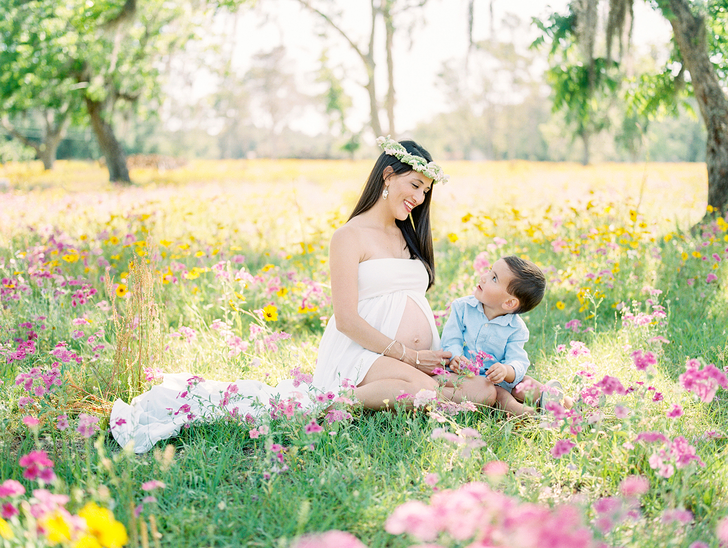 Family Maternity Session in a Flower Field- Lisa Silva Photography- Jacksonville and St. Augustine Florida Fine Art Film Photography- 2.jpg