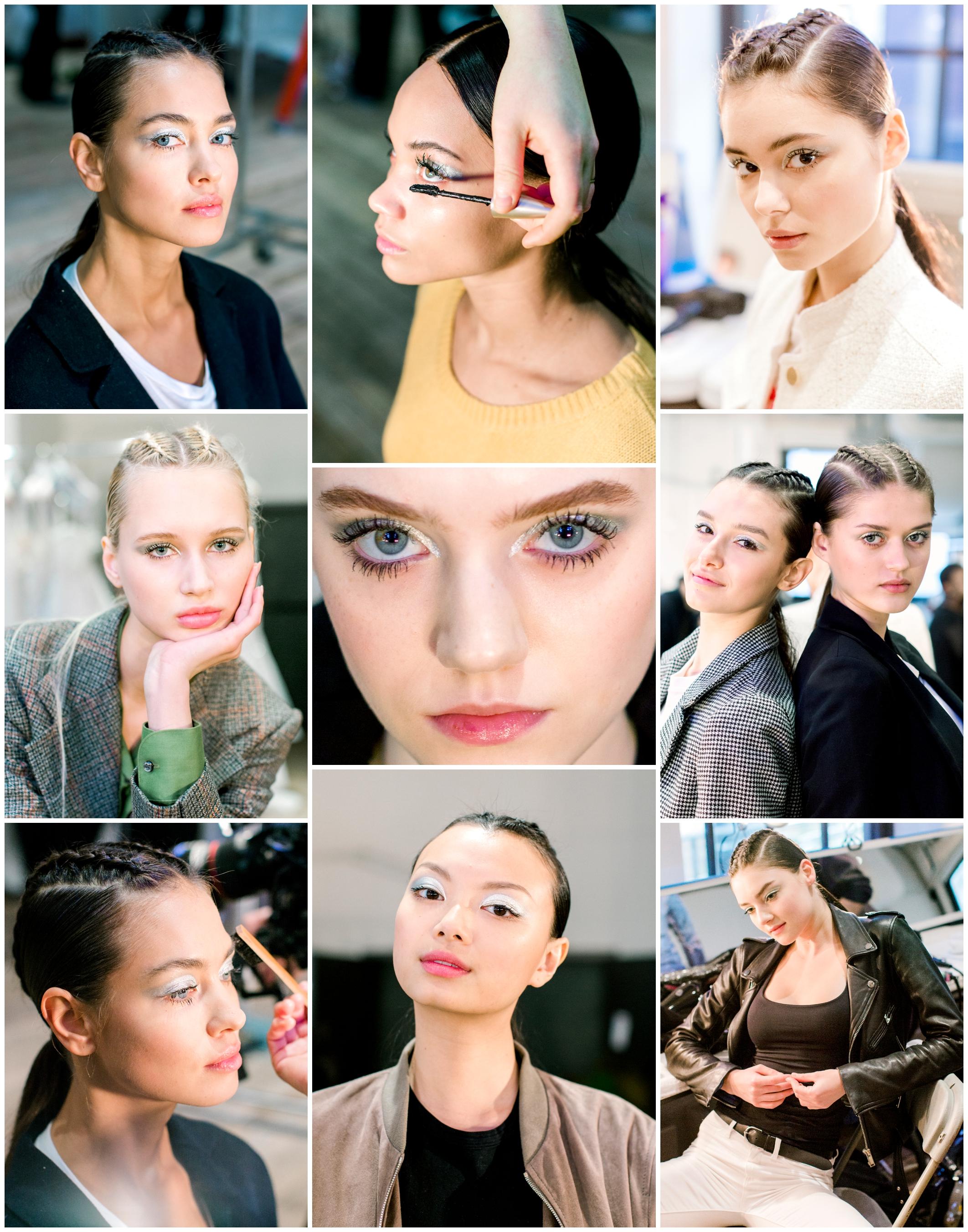 Backstage for hair and makeup at Berta Bridal