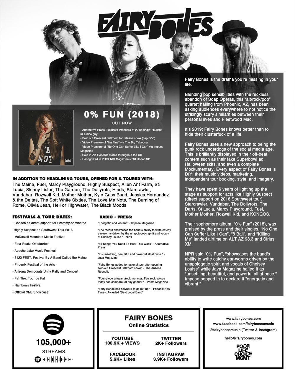 Fairy Bones - Band One Sheet 2019
