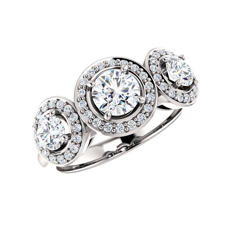 3-Stone Halo Engagement Ring