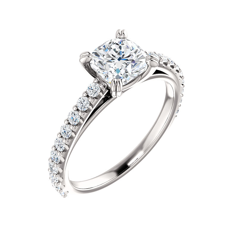 Double Prong Accented Engagement Ring