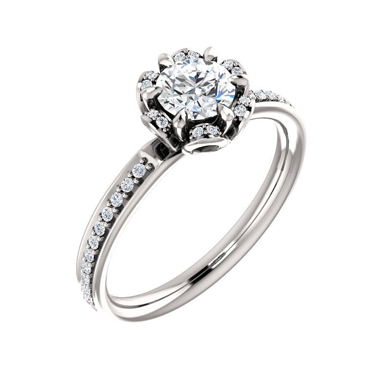 Floral-Inspired Halo Engagement Ring