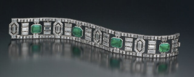 Geometric diamond and emerald bracelet - by Robert Weldon/GIA
