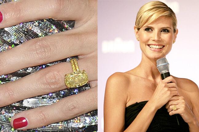 Heidi Klum with her fancy yellow oval diamond