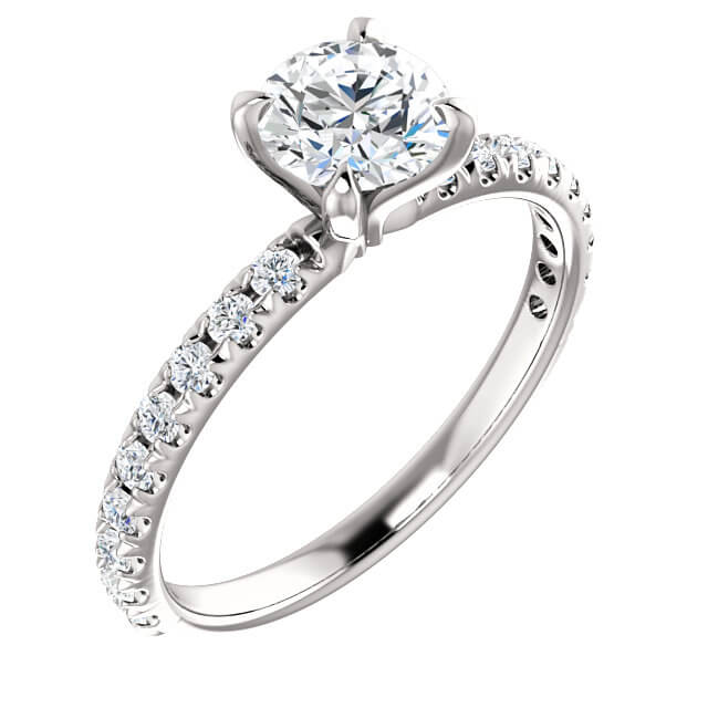 French-Set Accented Engagement Ring