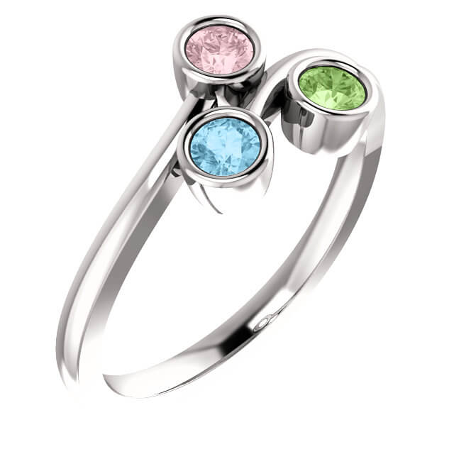 Bezel Set Mother's Ring - Accommodates 1 to 4 stones