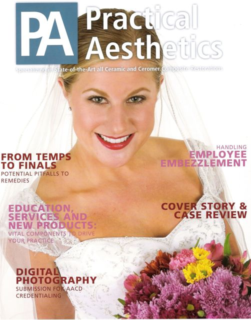 Cosmetic case by San Diego Cosmetic Dentist, Dr. Kathrina Agatep, featured on the cover of Practical Aesthetics Magazine.