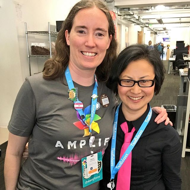 Left: Missy Longshore, member of the Girlforce Leadership Team Alumni, at Dreamforce 2017  '  s Women in Tech   Diversity  Breakfast, wearing her new Amplify t-shirt; Right: Rachel, wearing one of her ties   —  which (surprisingly) coordinated perfectly with Missy  '  s shirt! :)