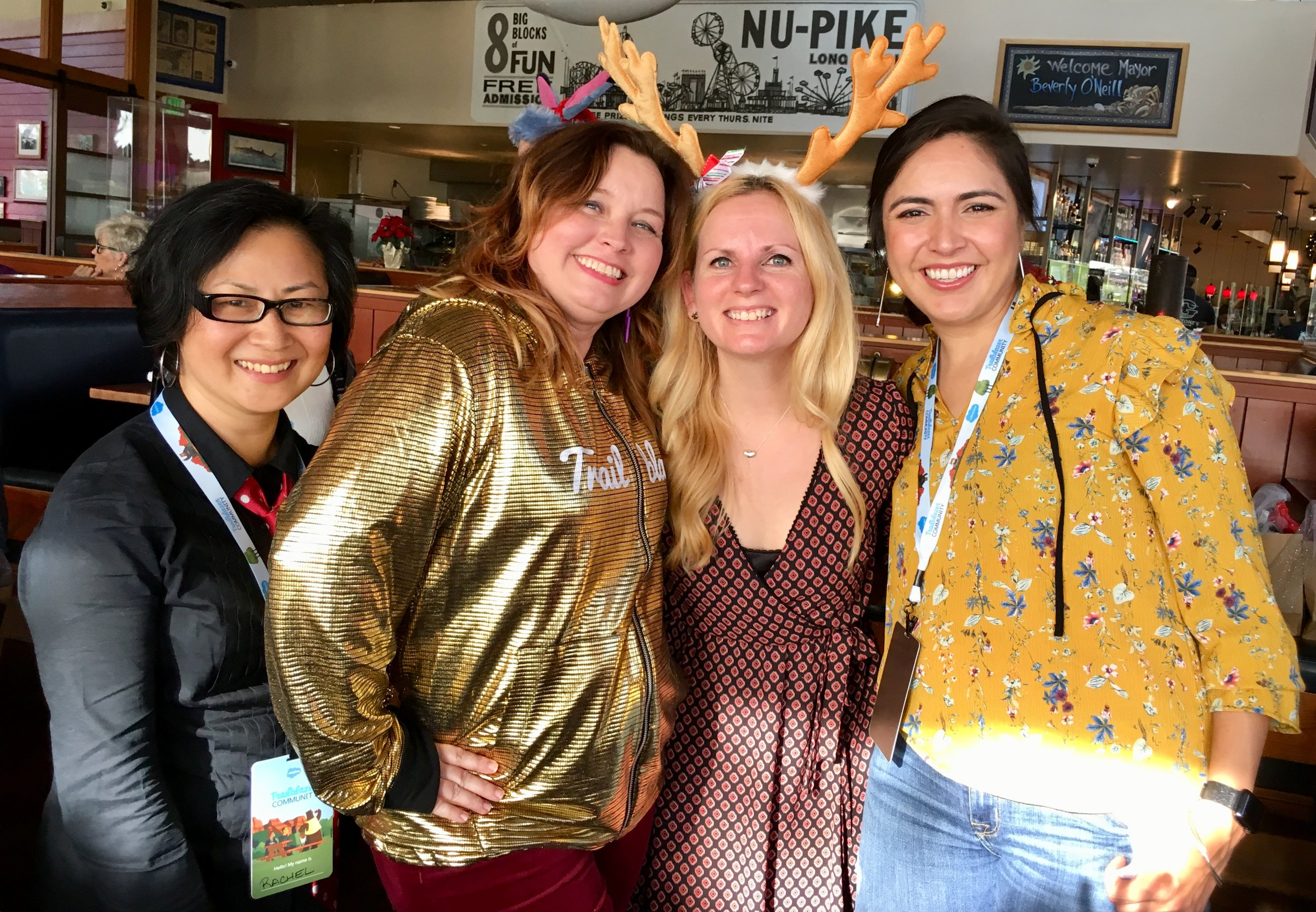 With my incredible Los Angeles WIT sisters during the holidays, from left: my dear friend, Laura Derby; co-leader, Nickki Gibeaut; and ImagineCRM founder, Daisy Sayre.