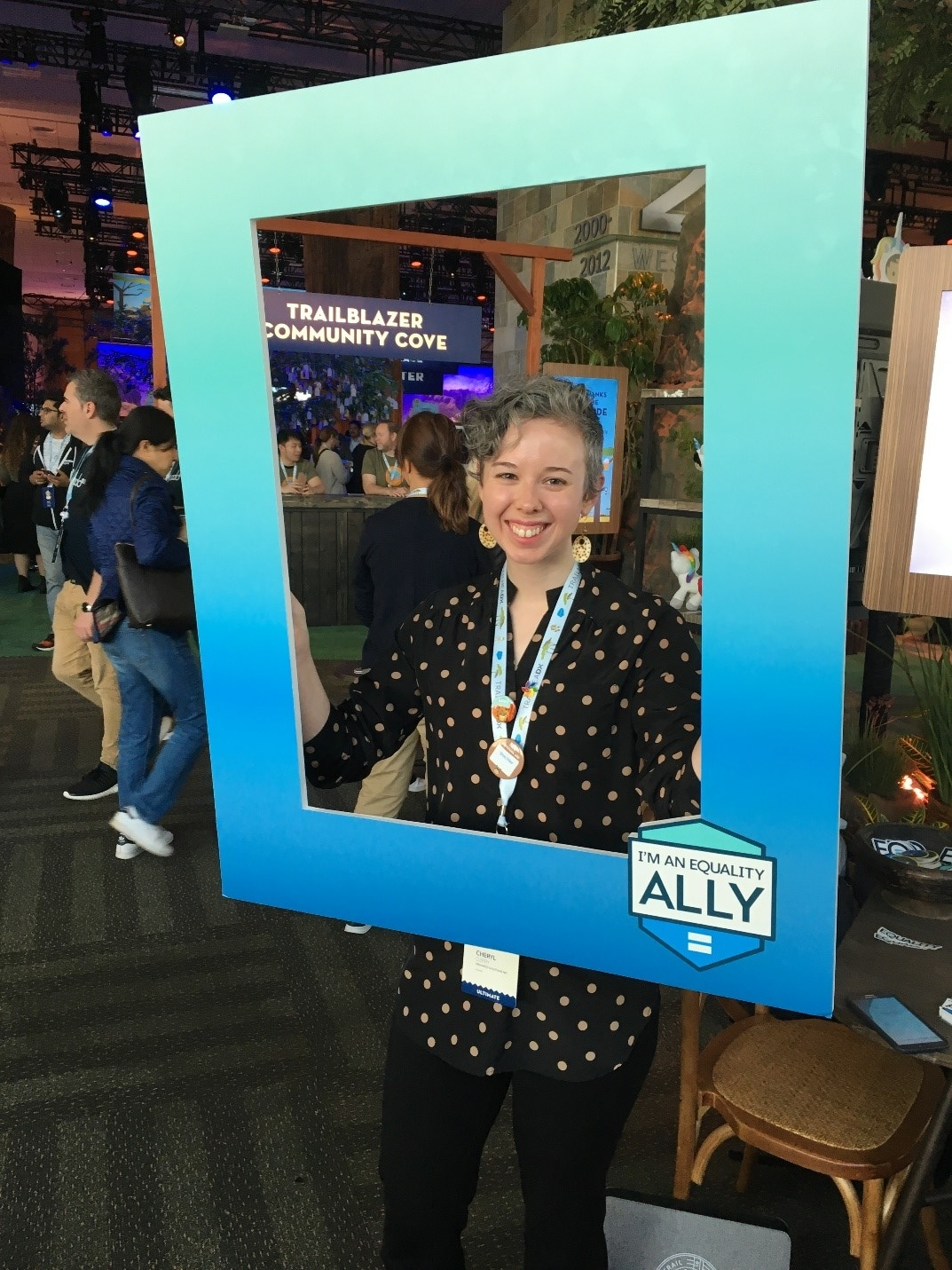[ Above Cheryl at the Equality Booth at TrailheaDX]